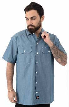 (WS509BU) Relaxed Fit Short Sleeve Chambray Shirt - Blue Chambray