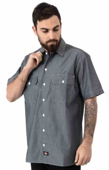 (WS509NVC) Relaxed Fit Short Sleeve Chambray Shirt - Navy Chambray