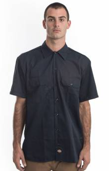 (WS675DN) Flex Relaxed Fit S/S Twill Work Shirt - Dark Navy