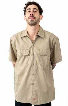 (WS675DS) FLEX Relaxed Fit Short Sleeve Twill Work Shirt - Desert Sand