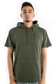 Elwood Clothing, French Terry S/S Curved Hem Hoodie - Olive