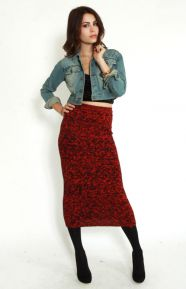 Evil Twin Clothing, Burning Embers Knitted Midi Skirt