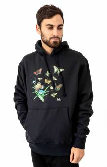 Butterflies And Bees Pullover Hoodie - Black
