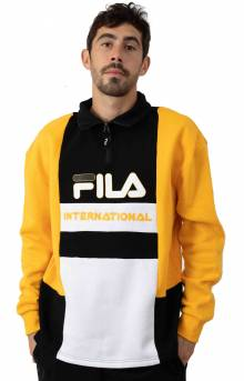 Damiano Funnel Neck 1/2 Zip Sweatshirt - Yellow/Black/White