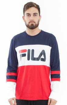 Dylan L/S Shirt - Navy/White/Red