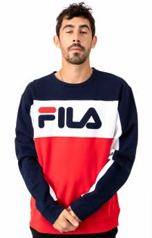 Lesner Fleece Crewneck - Peacoat/White/Red