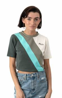 Ekta Crop Tee - Vetiver/Blue Turquoise/Turtle Dove