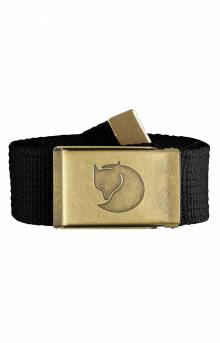 Canvas Brass Belt 4 CM - Black