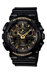G-Shock Clothing, GA-100CF-1A9 Camouflage Dial Watch - Black/Gold