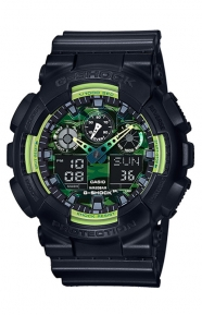G-Shock Clothing, GA-100LY-1A Sporty Illumi Series Watch - Black/Lime