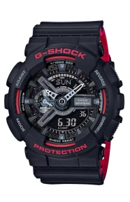 G-Shock Clothing, GA-110HR-1A Black & White Series Watch - Black/Red