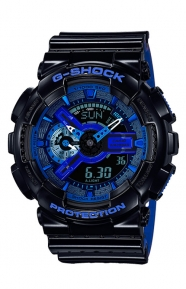 G-Shock Clothing, GA-110LPA-1A Military Perforated Series Watch - Black/Blue