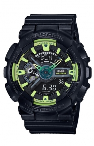 G-Shock Clothing, GA-110LY-1A Sporty Illumi Series Watch - Black/Lime