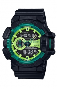 G-Shock Clothing, GA-400LY-1A Sporty Illumi Series Watch - Black/Lime