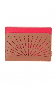 Charlie Perforated Leather Wallet - Brown/Chilli