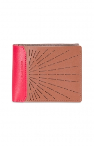 Hank Plus Perforated Leather Wallet - Brown/Chilli