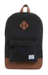 Heritage Mid Backpack - Black/Tan Synthetic Leather