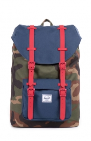 Little America Mid Backpack - Camo/Red Rubber/Navy