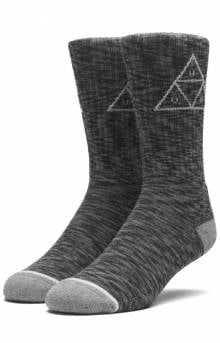 Melange Triple Triangle Sock - Black