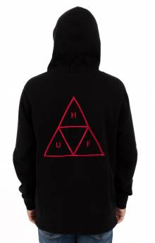 Triple Triangle Over-Dye Pullover Hoodie - Black