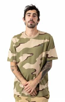 Camouflage-Print Cotton T-Shirt - Beige/White