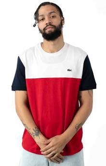 Colorblock Regular Fit Cotton Jersey T-Shirt - Red/White/Navy Blue