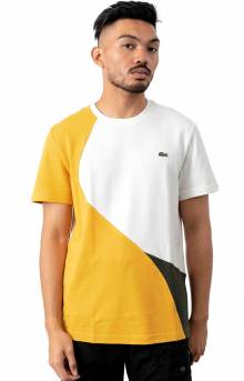 Crewneck Color-Blocked Thermoregulating Piqué T-Shirt - Yellow/Khaki/Green/White