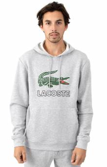 Graphic Croc Fleece Pullover Hoodie - Silver Chine