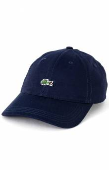 Little Croc Twill Leather Strap Cap - Navy Blue