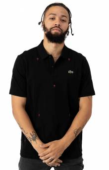 Live Classic Fit Rose Embroidery Cotton Pique Polo - Black/White