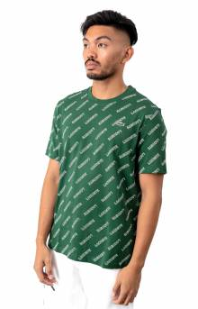 LIVE Crewneck Signature-Print Cotton T-Shirt - Green
