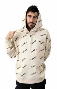 LIVE Hooded Print Fleece Sweatshirt - Beige