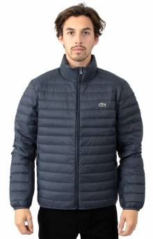 Short Contrast Lining Quilted Jacket - Meridian Blue