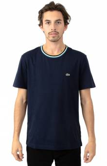 Striped Ribbed Crewneck Cotton Jersey T-Shirt - Navy