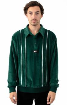 Velour Stripe Polo Shirt