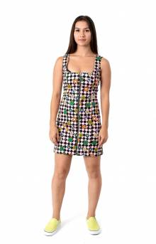 Flower Check Zip Up Dress