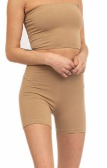 Cotton Spandex Biker Short - Hazelnut