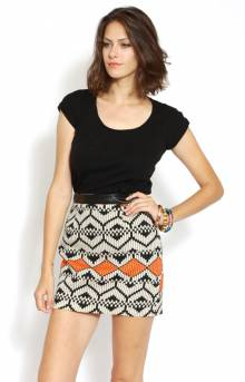Leather Waist Band Mini Skirt