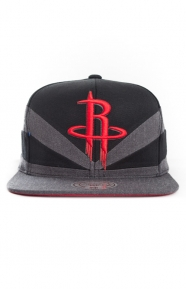 Mitchell & Ness Clothing, Black Slash Snap-Back Hat - Rockets