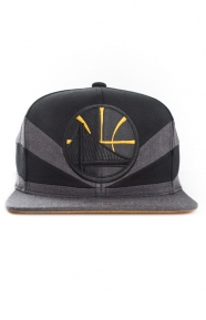 Mitchell & Ness Clothing, Black Slash Snap-Back Hat - Warriors
