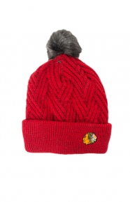 Mitchell & Ness Clothing, Crossed Out Pom Beanie - Blackhawks