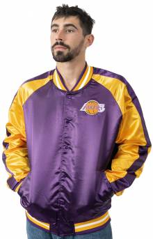 NBA Color Blocked Light Weight Satin Jacket - Lakers