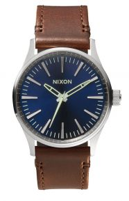 Sentry 38 Leather Watch - Blue/Brown