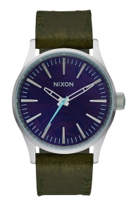 Sentry 38 Leather Watch - Purple/Olive