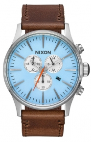 Nixon Clothing, Sentry Chrono Leather Watch - Sky Blue/Taupe
