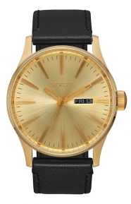 Nixon Clothing, Sentry Leather Watch - All Gold/Black