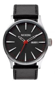 Sentry Leather Watch - Black/Red