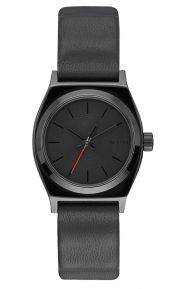 Small Time Teller Leather Women's Watch - Vader Black
