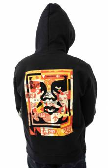 3 Face Collage Pullover Hoodie - Black