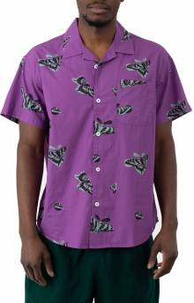 Butterfly Woven Button-Up Shirt - Purple Multi